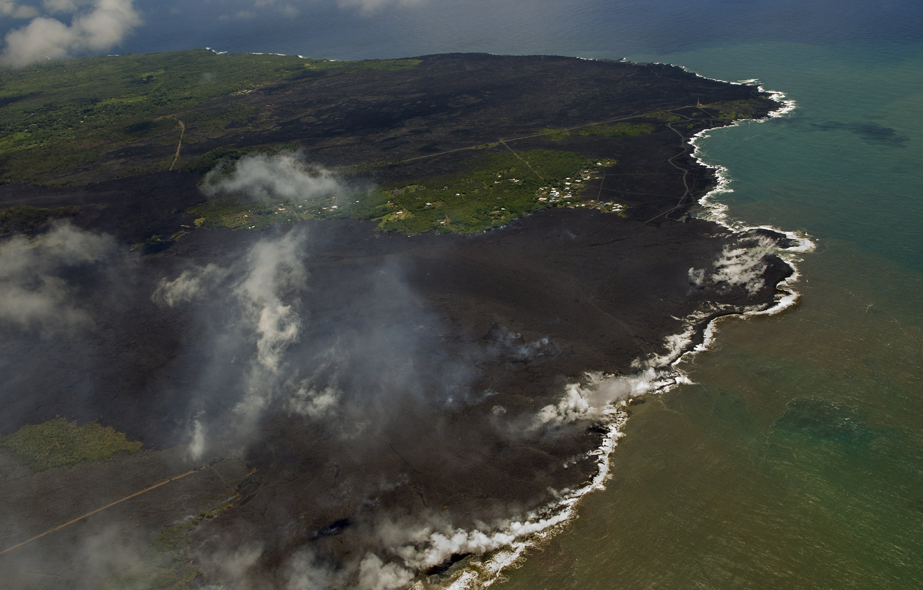 Volcano creates new land after lava fills Hawaii ocean bay
