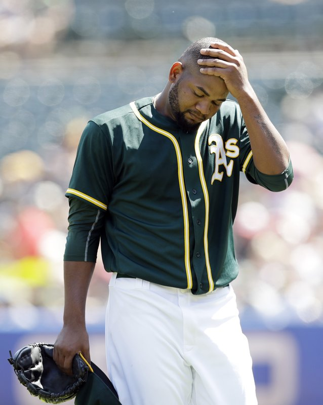 96615936a5c Oakland Athletics starter Raul Alcantara walks off the mound after the top  of the first inning of a baseball game against the Los Angeles Angels on  Monday