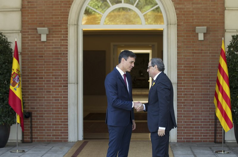 Spain's prime minister Pedro Sanchez welcomes Catalan regional president, Quim Torra, in Madrid