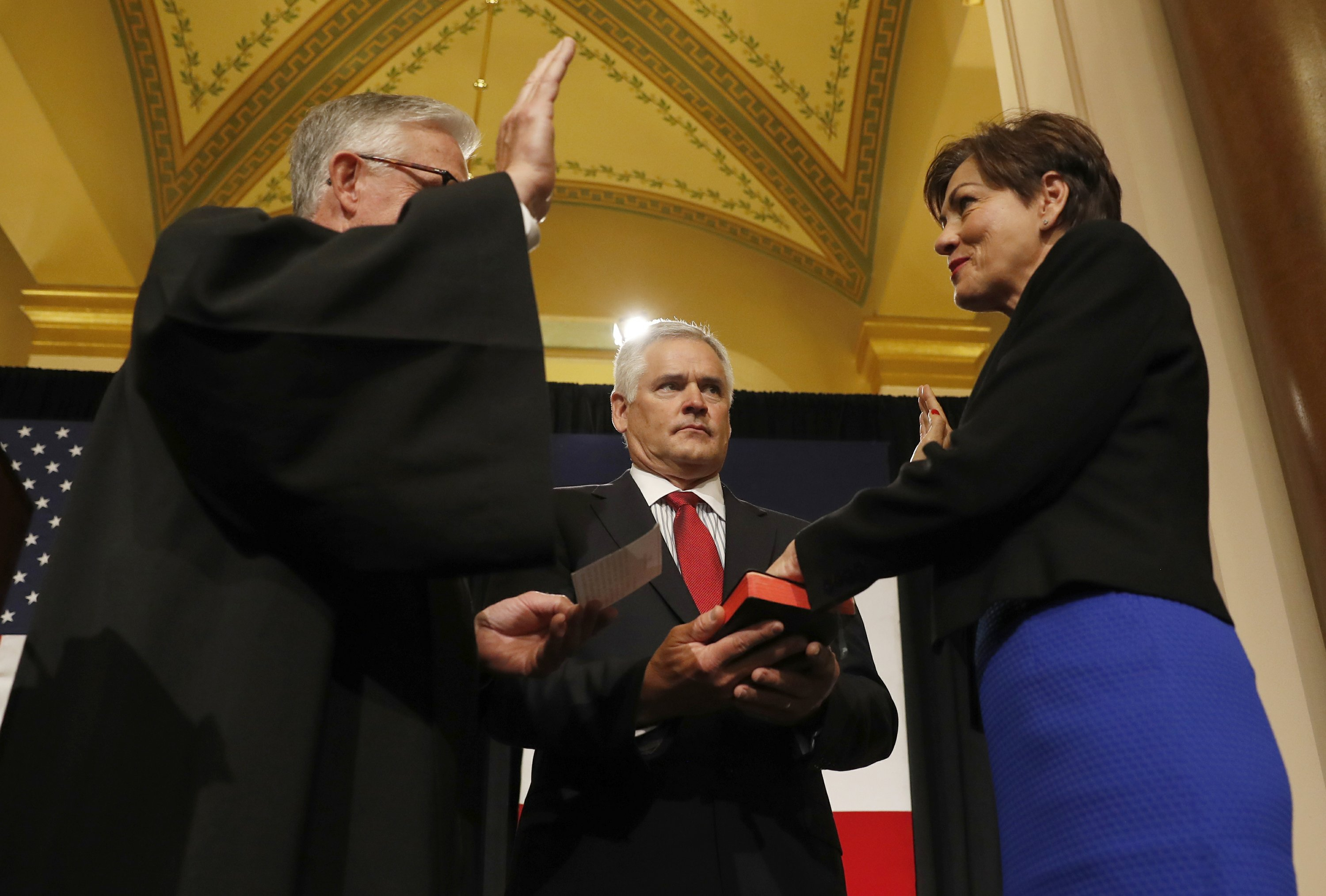 Kim Reynolds sworn in as Iowa's 1st female governor