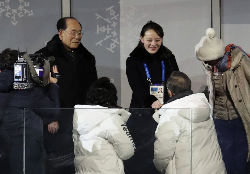 Moon Jae-in, left, Kim Yo Jong