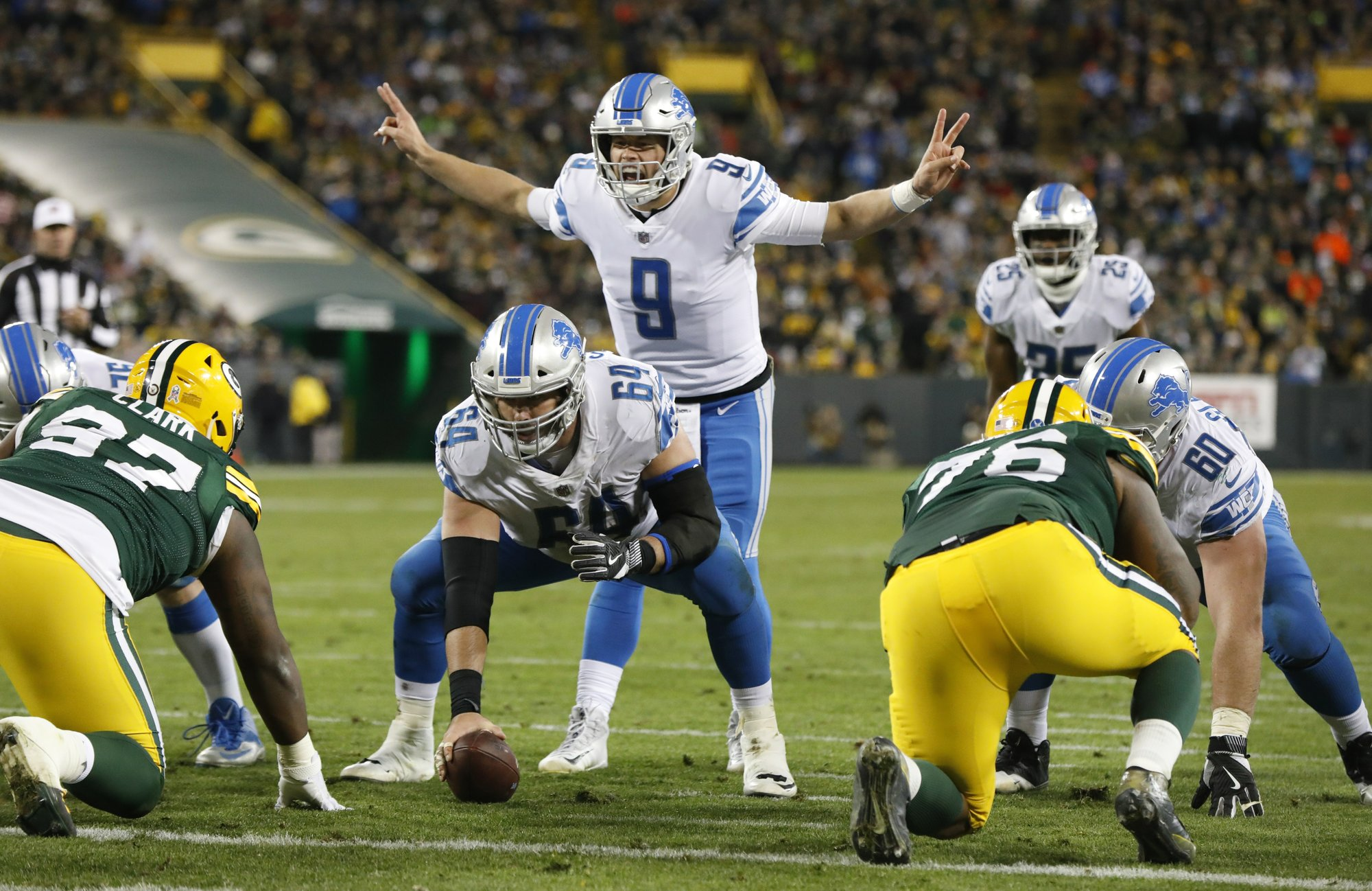 ef06f4747b3 Detroit Lions quarterback Matthew Stafford calls a play during the second  half of an NFL football game against the Green Bay Packers Monday