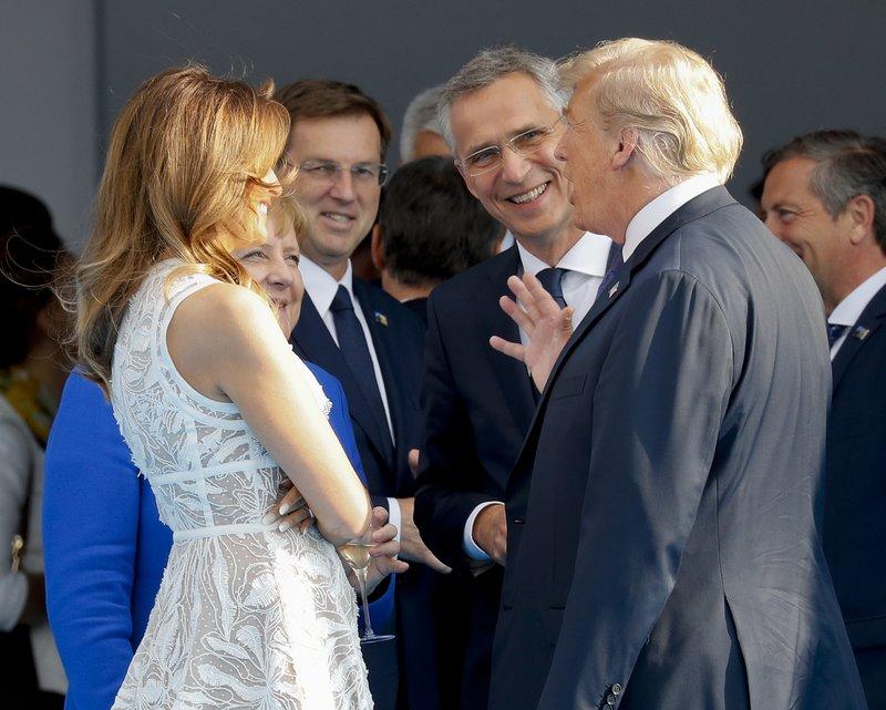 Donald Trump, Melania Trump, Angela Merkel, Jens Stoltenberg