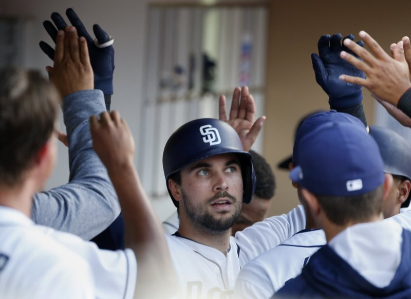 San Diego Padres' Austin Hedges is congratulated in the dugout after hitting a two-run home run in the fourth inning of a baseball game against the Miami Marlins in San Diego, Saturday, April 22, 2017. (AP Photo/Christine Cotter)