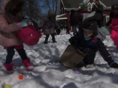N.D. Kids Participate in Snowy Easter Egg Hunt