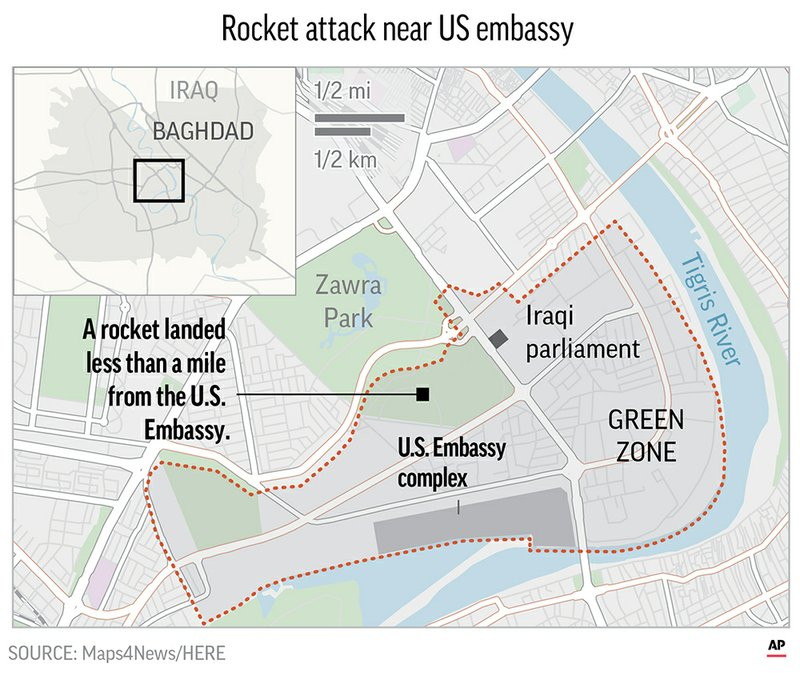 Rocket attack hits near US Embassy in Baghdad\'s Green Zone