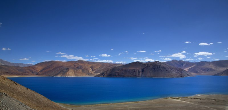 In this Sunday, June 17, 2016, photo, Pangong lake high up in Ladahak region is seen from India side. The Chinese soldiers hurled stones while attempting to enter Ladakh region near Pangong Lake on Tuesday but were confronted by Indian soldiers, said a top police officer. The officer said Indian soldiers retaliated but neither side used guns. There was immediately no comment from China.