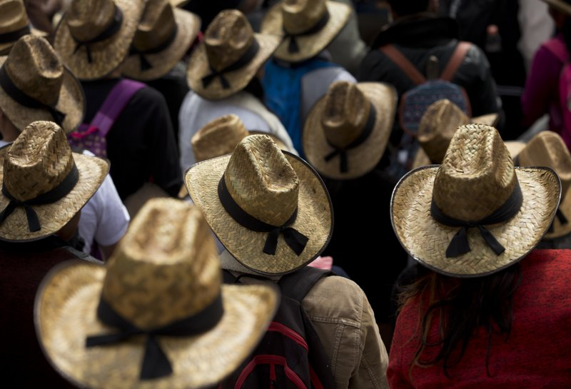 Farmers wearing straw hats take part in a march protesting the North American Free Trade Agreement in Mexico City, Wednesday, July 26, 2017. More than a thousand farmers from multiple Mexican states gathered for a demonstration against the treaty that has allowed in lower-priced imported grains from the U.S. which farmers say have harmed their ability to make a living.