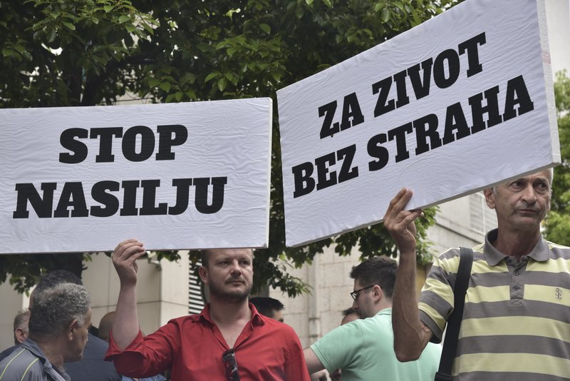 Hundreds protest attack on journalist in Montenegro