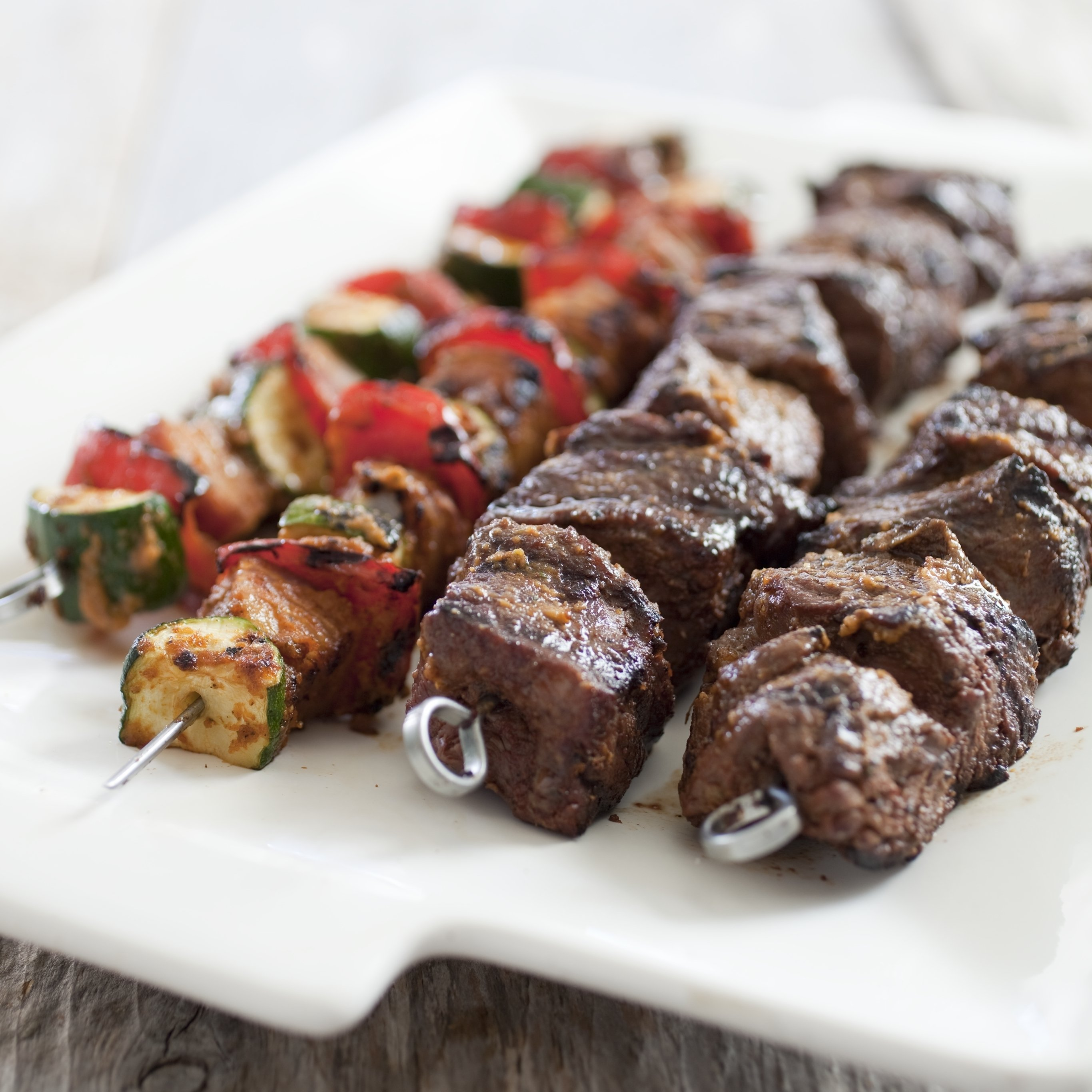 Grilled beef skewers get even better with a robust marinade