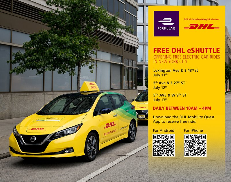 DHL, Official Logistics Partner to Formula E, is Offering New Yorkers Free Zero-Emission Rides