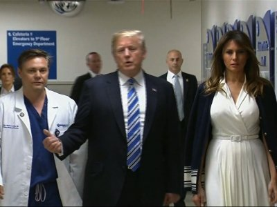 Trump Praises Medical Personnel at Fla. Hospital