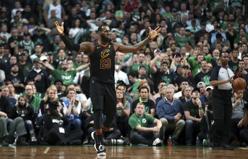 c5b12499a Cleveland Cavaliers forward LeBron James gestures during the second half in  Game 7 of the NBA basketball Eastern Conference finals against the Boston  ...