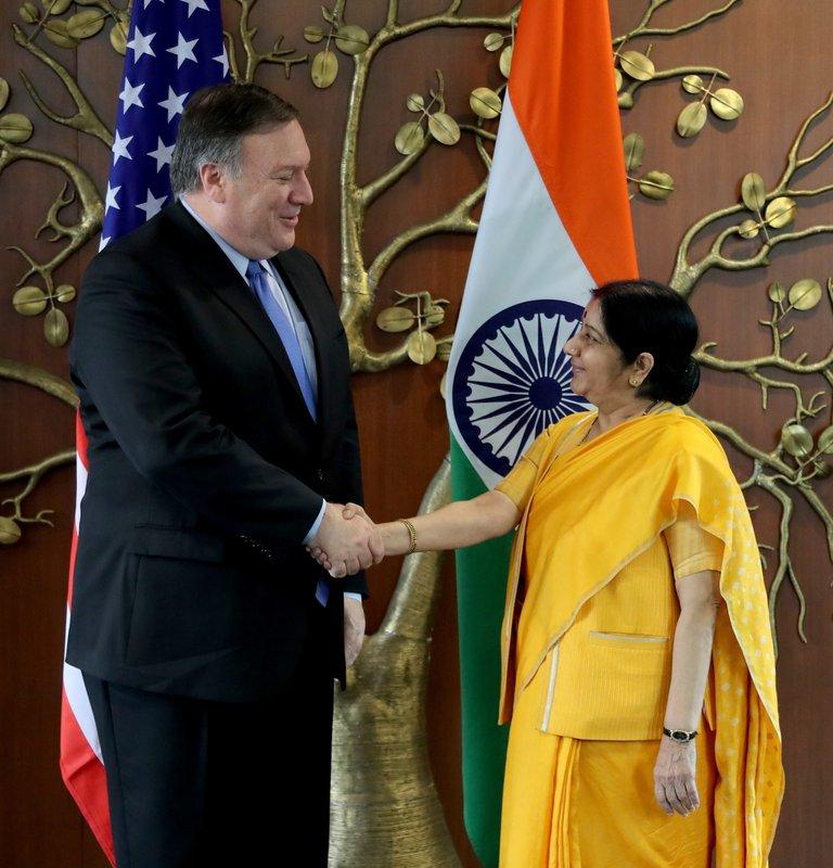 Mike Pompeo, Sushma Swaraj