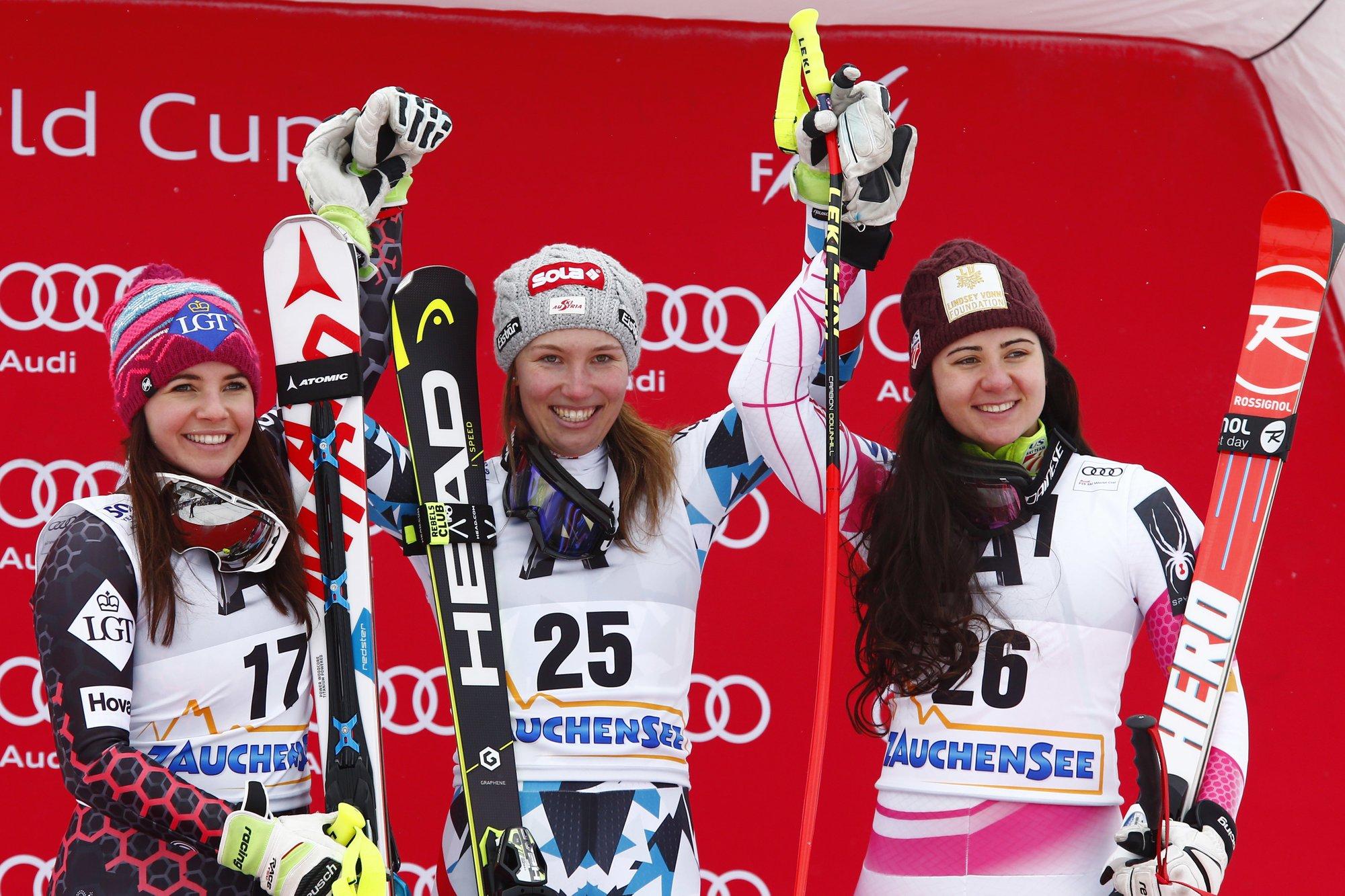 Austrian skier Scheyer wins downhill; Vonn 13th on return