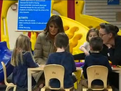 Melania Trump visits military families in Alaska