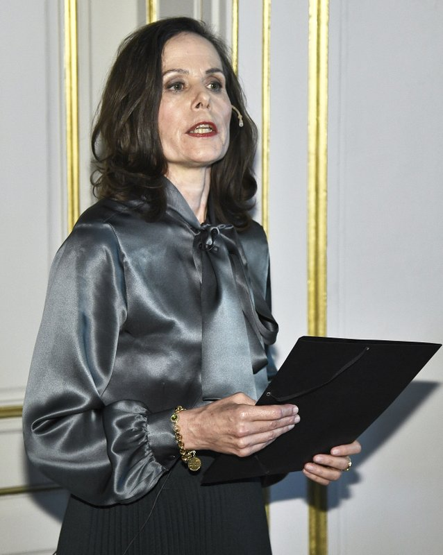 Sara Danius, Permanent Secretary of the Swedish Academy announces that British novelist Kazuo Ishiguro is awarded the 2017 Nobel Prize in Literature during a presser at the Grand Hall of the Old Stock Exchange in Stockholm, Sweden, Thursday Oct. 5, 2017.