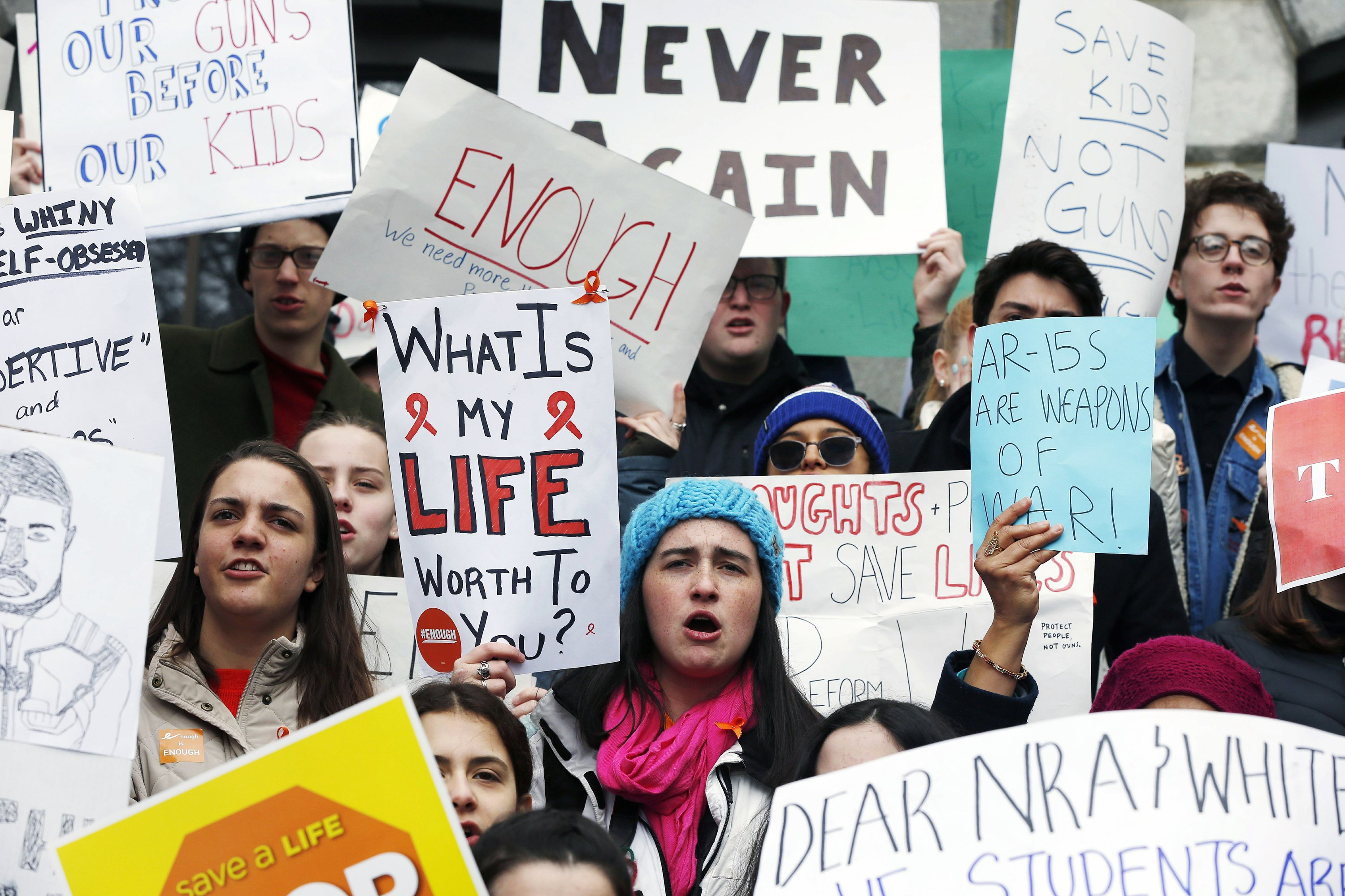 'Enough is enough': US students stage walkouts against guns