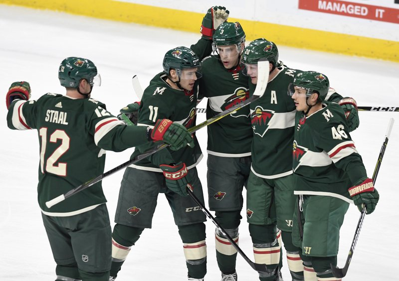 Eric Staal, Zach Parise, Charlie Coyle, Ryan Suter, Jared Spurgeon