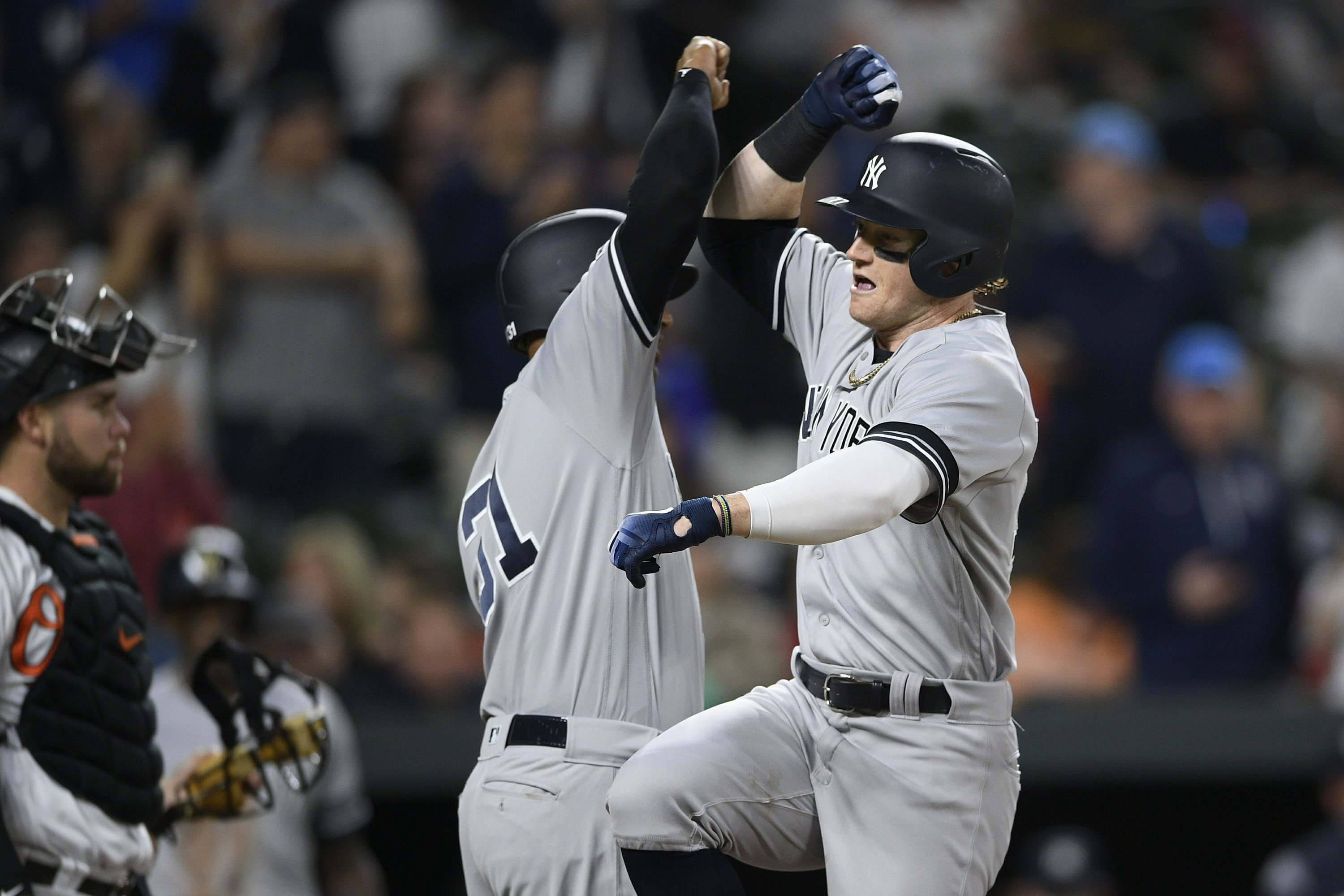 low priced fb6ad 643d0 Frazier 2 HRs, 5 RBIs carry Yankees past Orioles 11-4