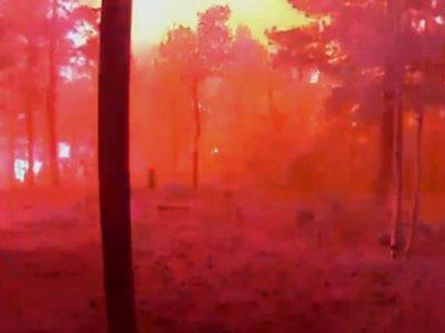 Surveillance Footage Shows Fire Engulfing Cabin
