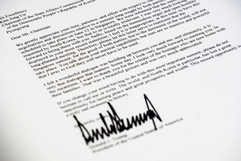 Dear mr chairman an extraordinary letter from trump to kim a copy of the letter sent to north korean leader kim jong un from president donald trump canceling their planned summit in singapore is photographed in thecheapjerseys Image collections