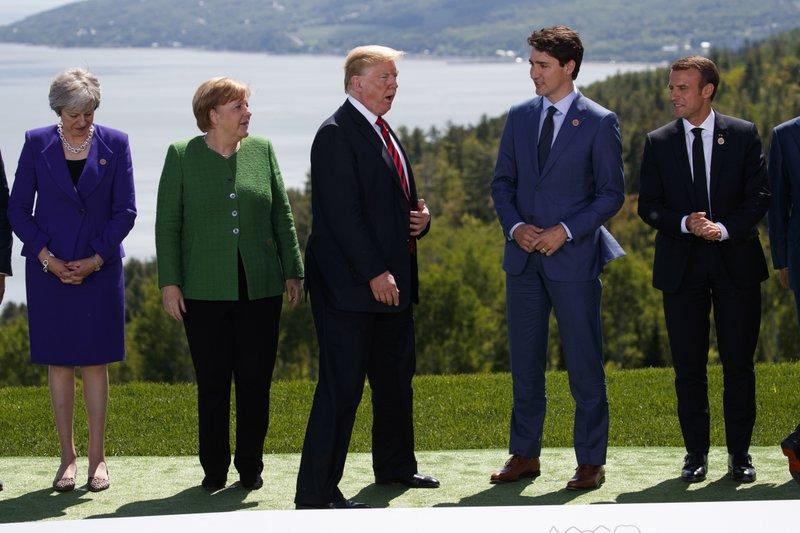 Donald Trump, Emmanuel Macron, Justin Trudeau, Angela Merkel, Theresa May,