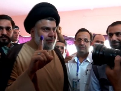 Iraqi Cleric al-Sadr Votes On Election Day