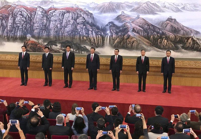 Han Zheng, Wang Huning,, Li Zhanshu, Xi Jinping, Li Keqiang, Wang Yang, Zhao Leji
