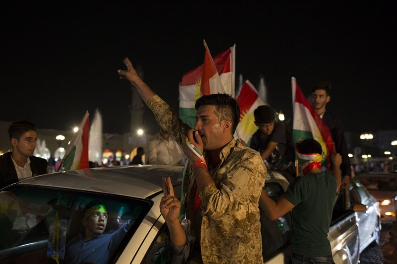 The Latest: Iraqi Kurds claim victory in independence vote