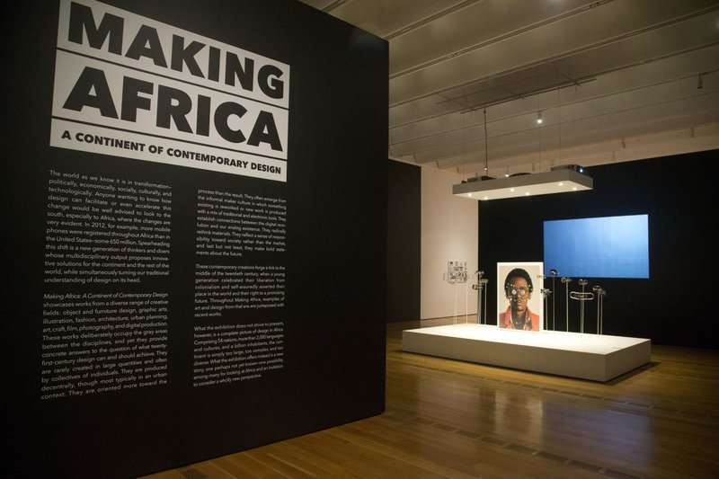The entrance to an exhibition titled making africa a continent of contemporary design is shown at the high museum of art wednesday oct 11 2017