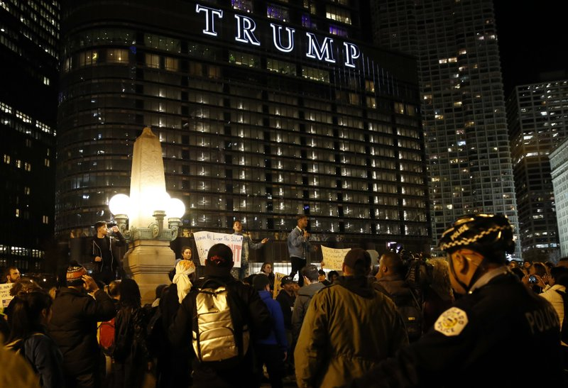 The Latest: Trump on Twitter taking on protesters