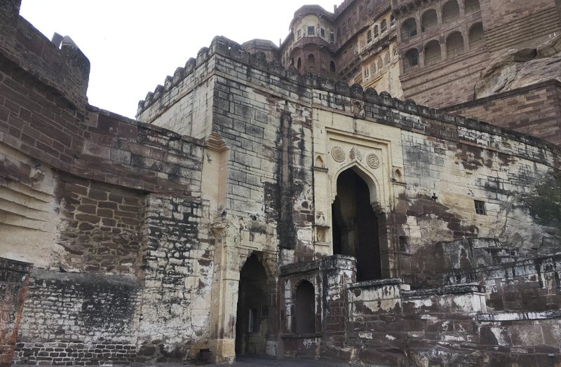 This Wednesday, June 26, 2017 photo shows the entrance of the Mehrangarh Fort in Jodhpur, India. The last reigning maharaja's grandson, Gaj Singh, was only 4 when his father died in a plane crash in 1952, making him sole owner of the Umaid Bhawan Palace and other family properties, including the ancestral Mehrangarh Fort.