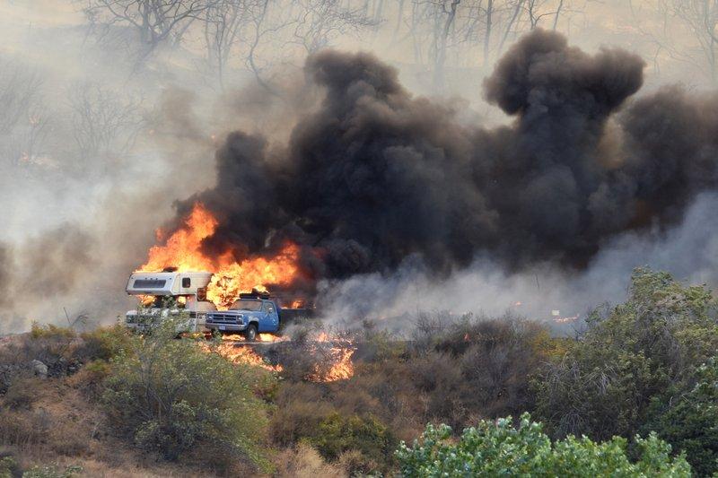 Blue Cut wildfire burned vehicles