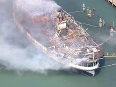 Historic Boat Catches Fire at Detroit Marina