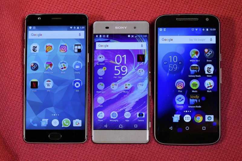 Motorola MotoG4, Sony Xperia XA, OnePlus A3000