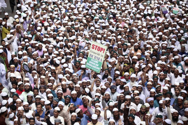 "In this Friday, Sept. 8, 2017, file photo, Bangladeshi activists along with members of several Islamic groups participate in a protest against the persecution of Rohingya Muslims in Myanmar, after Friday prayers in Dhaka, Bangladesh. The U.N. said Friday that an ""alarming number"" of 270,000 Rohingya Muslims have fled violence in Myanmar by crossing into Bangladesh in the last two weeks."