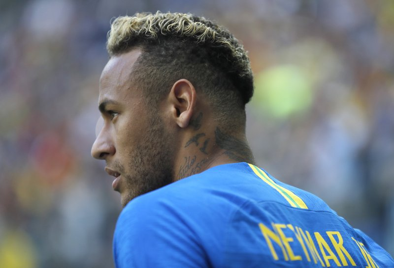 Brazil's Neymar during the group E match between Brazil and Costa Rica at the 2018 soccer World Cup in the St. Petersburg Stadium in St. Petersburg, Russia, Friday, June 22, 2018.