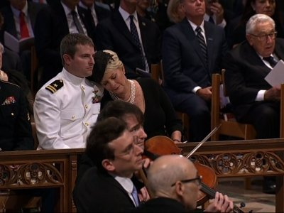 "Cindy McCain weeps as ""Danny Boy"" is performed"