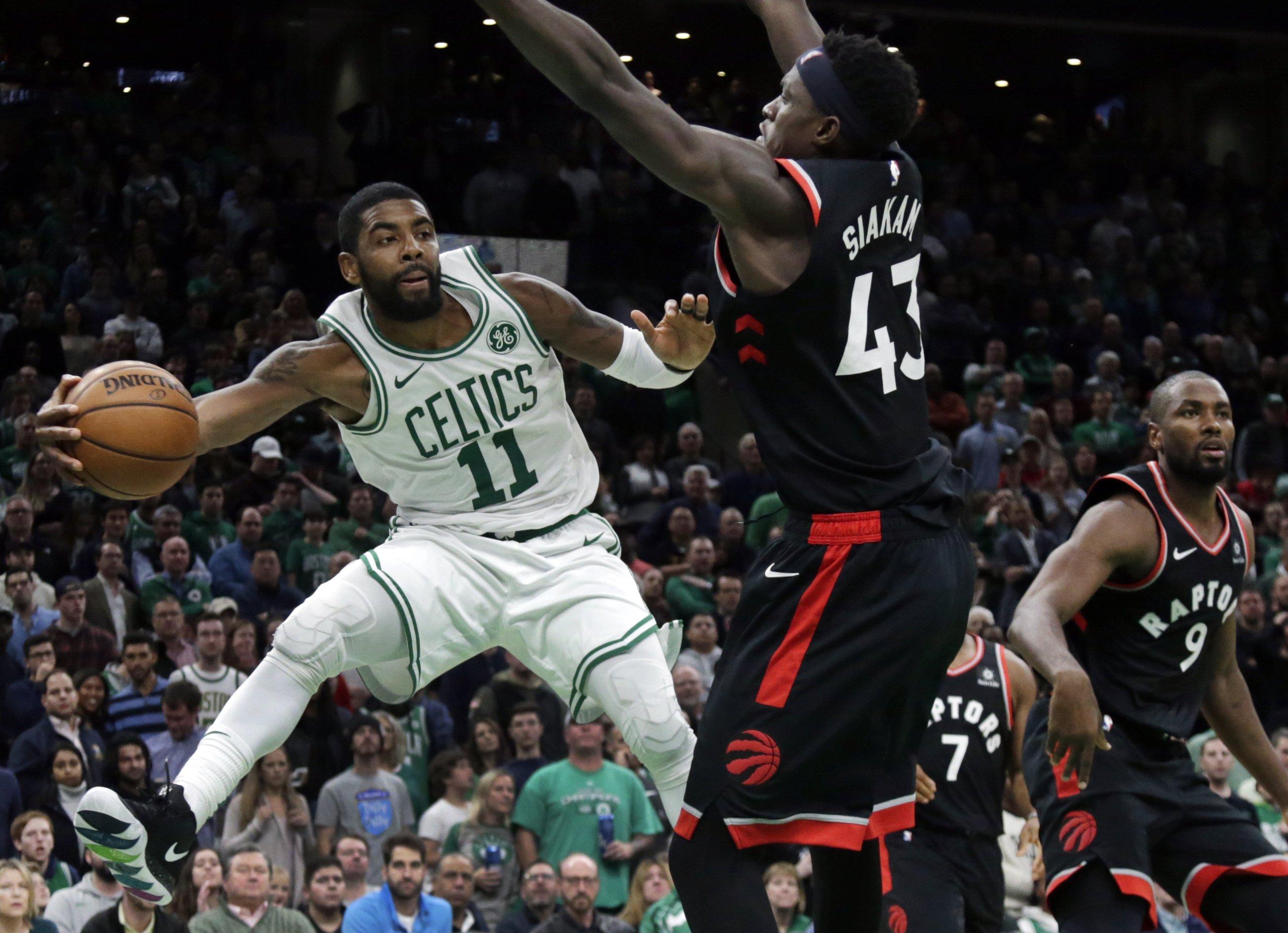 Kyrie Irving Scores 43 Celtics Beat Raptors 123 116 In Ot