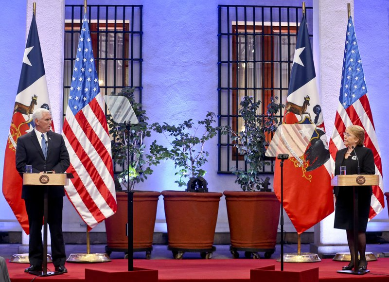 Mike Pence, Michelle Bachelet