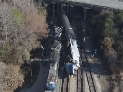 Drone Footage Shows Amtrak Train Crash Scene