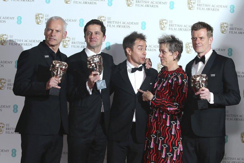 Peter Czernin, Martin McDonagh, Graham Broadbent, Sam Rockwell, Frances McDormand