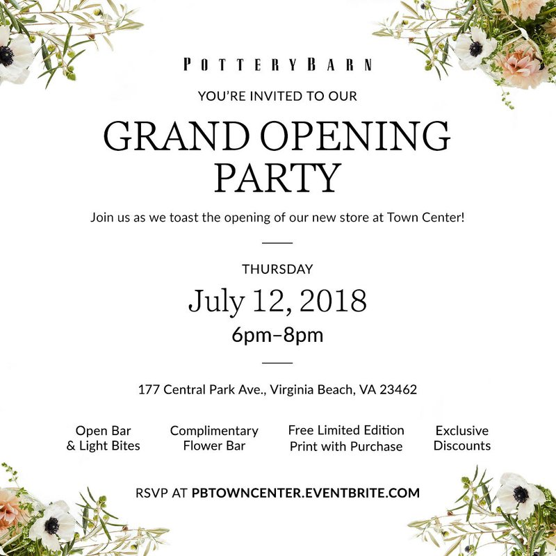 POTTERY BARN DEBUTS NEW STORE AT TOWN CENTER ON JULY 13TH
