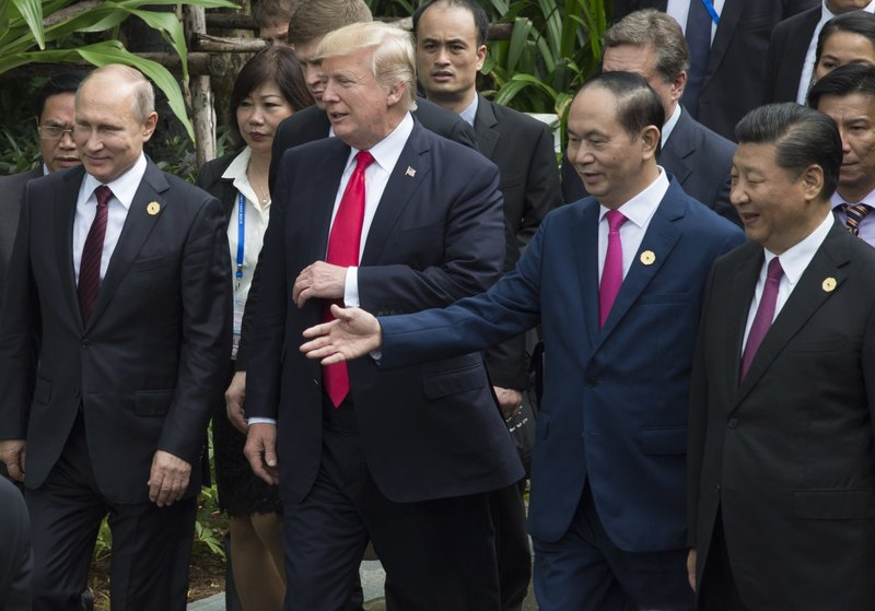 Donald Trump, Vladimir Putin, Xi Jinping, Tran Dai Quang