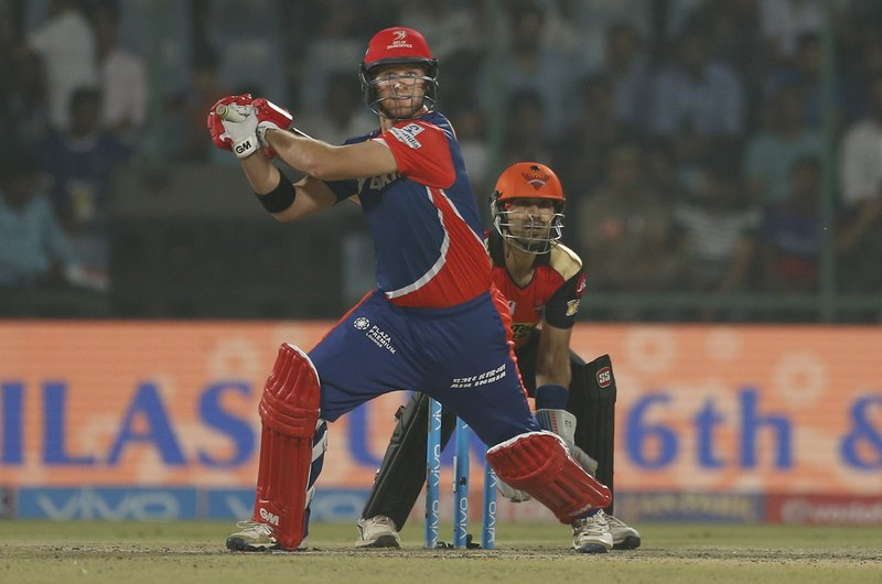 Delhi Daredevils' batsman Corey Anderson plays a shot during their Indian Premier League (IPL) cricket match against Sunrisers Hyderabad in New Delhi, India, Tuesday, May 2, 2017.
