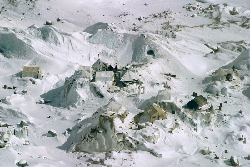 This Feb. 1, 2005 file photo shows an aerial view of an Indian army camp at Siachen Glacier, about 750 kilometers (469 miles) northwest of Jammu, India. Siachen Glacier, a 6,100-meter (20,000-foot) icy Himalayan expanse makes up the world's highest battlefield. Thousands of troops have been deployed on the glacier since 1983, laying claim to territory so hostile to human life it has never even been demarcated. Far more troops have died from avalanches or bitter cold than in combat. While there are no clear borders on the glacier, its position between the Indian and Pakistani-controlled portions of Kashmir make it a key part of any final map that may be drawn of the region. Its high altitude gives its occupants an advantage over those below.