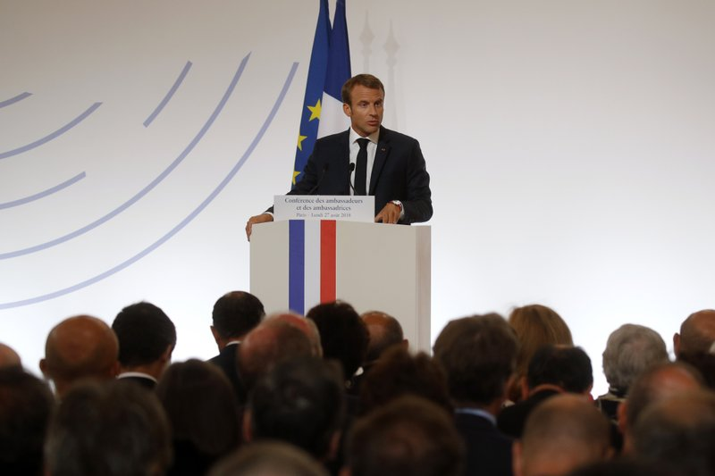 French President Emmanuel Macron delivers a speech during the annual French ambassadors' conference at the Elysee Palace in Paris