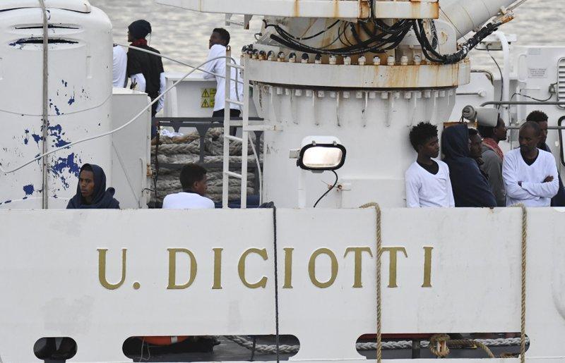 The Diciotti ship at Catania harbor
