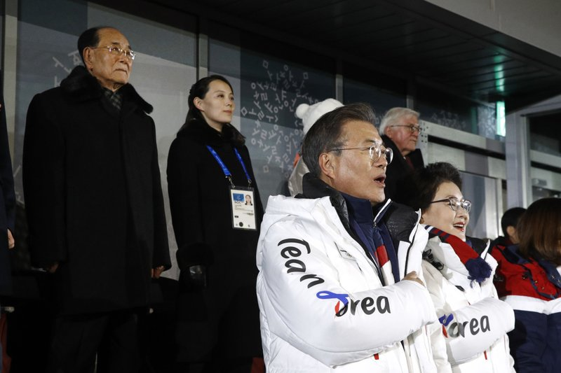 Moon Jae-in, Kim Jung-sook, Kim Yong Nam, Kim Yo Jong